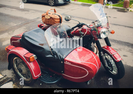UFA, RUSSIA - May 5,2018: Motorcycle stands still on the city street, a close up - Stock Photo
