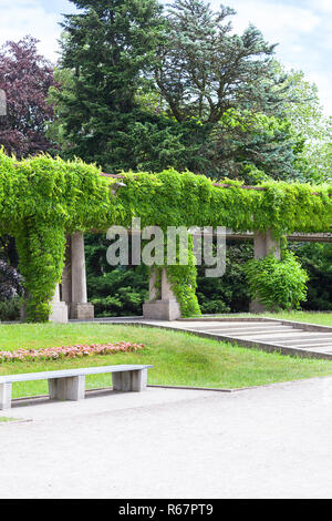 Green pergola in Szczytnicki Park, Wroclaw, Poland - Stock Photo