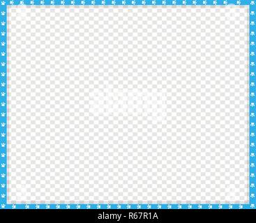 Vector cyan blue and white rectangle border made of animal paw prints on transparent background. Copy space template, border, framework, photo frame,  - Stock Photo