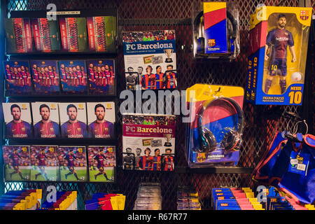 BARCELONA, SPAIN - AUGUST 10, 2018: Entrance the FCB Futbol Club Barcelona official store located in Passeig de Gracia, where architectural jewels stand side by side with most prestigious shops. - Stock Photo