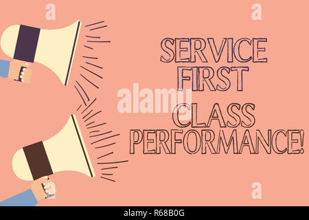 Handwriting text writing Service First Class Perforanalysisce. Concept meaning Great services High quality top the best Two Hu analysis Hand Holding M - Stock Photo