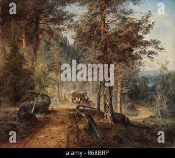 Werner Holmberg, Road in Häme (A Hot Summer Day) / Maantie Hämeessä (Helteinen kesäpäivä), 1860,  painting, oil on canvas, 88,5 cm x 103,5 cm, A II 10 - Stock Photo