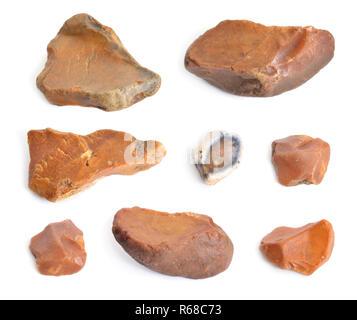 Flint stones set. Isolated on white background. - Stock Photo
