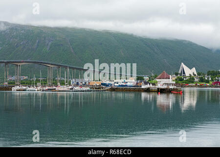 Artic cathedral and bridge in Tromso, Norway - Stock Photo