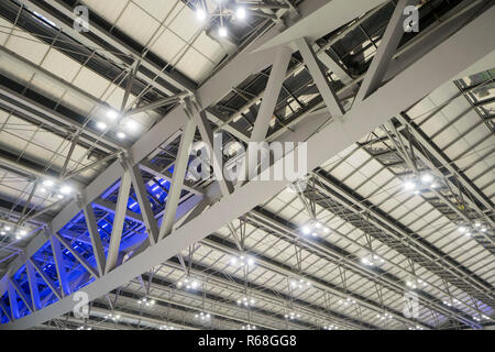 Large steel frame in the building with spotlights. - Stock Photo