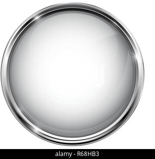White glass button. Round 3d shiny icon with metal frame - Stock Photo