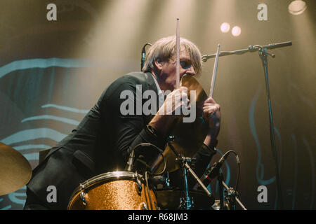 Switzerland, Solothurn - December 2, 2018. The Belgian rock band Triggerfinger performs a live concert at Kofmehl in Solothurn. Here drummer Mario Goossens is seen live on stage. (Photo credit: Gonzales Photo - Tilman Jentzsch). - Stock Photo