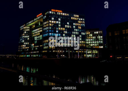 Spiegel Building in Hafencity, Hamburg, Germany by night - Stock Photo