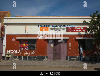 Snack bar in an old portuguese colonial building, Namibe Province, Namibe, Angola - Stock Photo