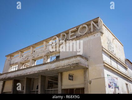 Cine Teatro Odeon, an old portuguese colonial building, Huila Province, Lubango, Angola - Stock Photo