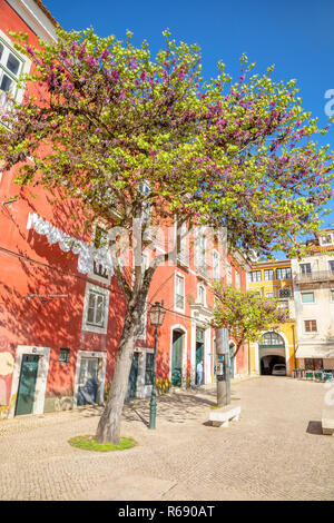 Charming Alfama district in Lisbon, Portugal - Stock Photo