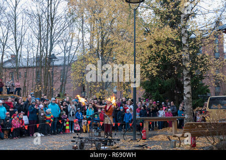 Lady Fire in Tallipiha Tampere Finland - Stock Photo