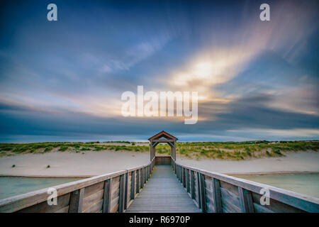 Viewpoint on artificial dunes along the Dutch coast near the coastal town of Petten - Stock Photo