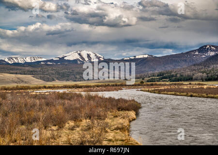 Rio Grande Headwaters, Antelope Park, San Juan Mountains, Rio Grande National Forest, Silver Thread Scenic Route Byway, near Creede, Colorado, USA - Stock Photo
