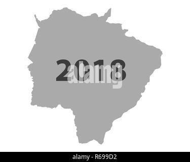 map of mato grosso do sul 2018 - Stock Photo