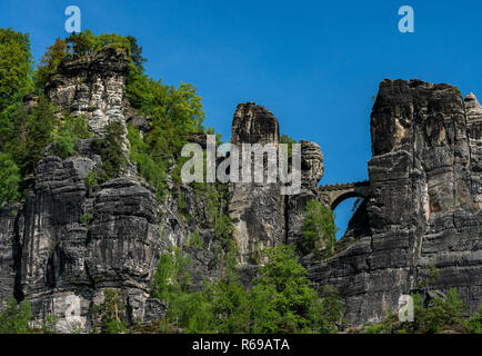 The Bastion In The Elbe Sandstone Mountains In Saxony - Stock Photo