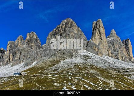 South Face Of The Three Peaks Mountains, Tre Cime Di Lavaredo, Drei Zinnen, Sexten Dolomites, Italy - Stock Photo