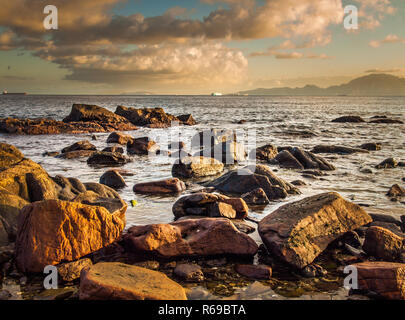 View To The Straits Of Gibraltar From The Rocky Coastline On The Spanish Side. View From Spain To Africa - Stock Photo