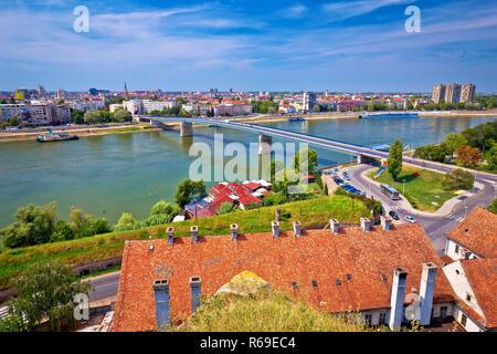 City Of Novi Sad and Danube river aerial view from Petrovaradin, Vojvodina region of Serbia - Stock Photo