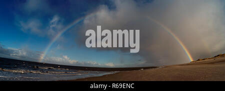 Panoramic View With Rainbow On The North Frisian Island Amrum In Germany - Stock Photo