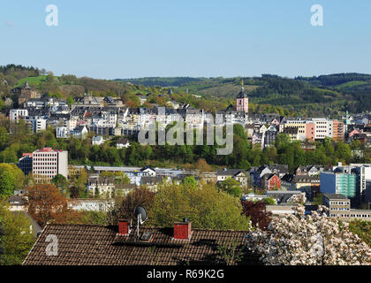 Historic City Center From Siegen City Panorama - Stock Photo