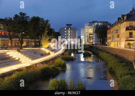 Siegen City Sieg Waterside At Twilight - Stock Photo