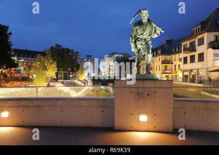 Siegen City Miner Henner At The Sieg Waterside By Twilight - Stock Photo
