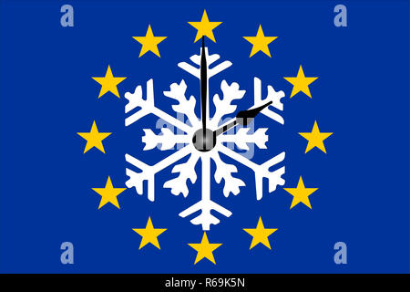 Europe Clock Change With Snowflake And Dial - Stock Photo