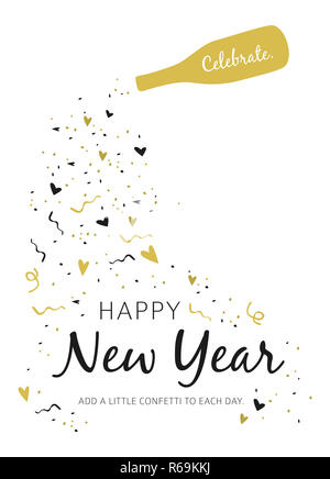 Happy New Year 2019 Greeting Card on white background - Stock Photo
