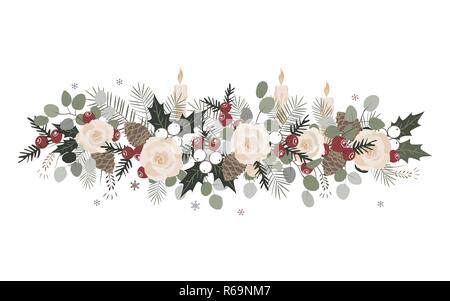 Vector Christmas border with fir branches, beriies, roses, ilex and cones. Decoration design element. - Stock Photo