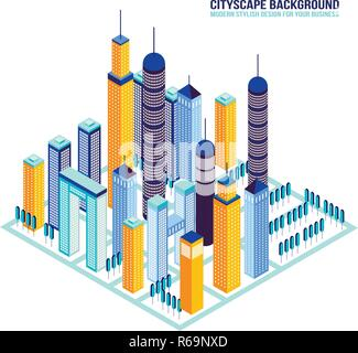 Isometric City buildings and architecture Cityscape Vector illustration - Stock Photo