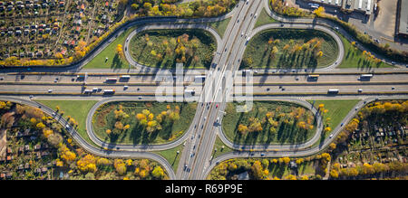 Aerial view, motorway intersection Duissern, motorway intersection Duisburg Mitte, motorway A40, motorway A59, Duissern - Stock Photo