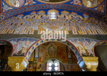 Wall painted with artistic frescoes, interior, cathedral St. Johannnes Vladimir, Hram Svetog Jovana Vladimira, bar, Montenegro - Stock Photo