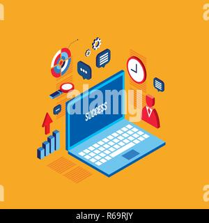 Workplace isometric elements set Successful business concept Vector illustration - Stock Photo