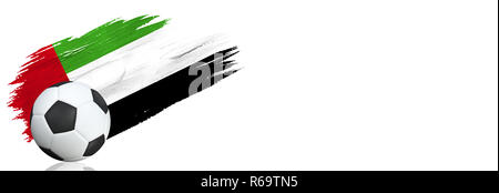 Painted brush stroke in the flag of United Arab Emirates. Soccer banner with classic design isolated on white background with place for your text.. - Stock Photo