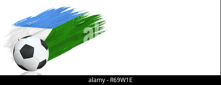 Painted brush stroke in the flag of Djibouti. Soccer banner with classic design isolated on white background with place for your text.. - Stock Photo