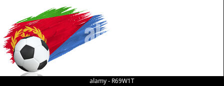 Painted brush stroke in the flag of Eritrea. Soccer banner with classic design isolated on white background with place for your text.. - Stock Photo
