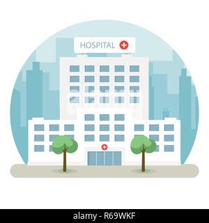 Hospital building in a big city. Flat design. Vector illustration - Stock Photo