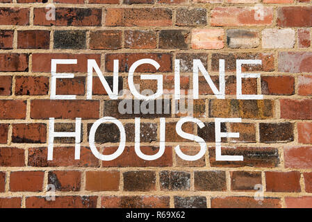 Marine Engine House letters painted on brick wall Walthamstow Wetland London Borough of Waltham Forest, England Britain UK. - Stock Photo