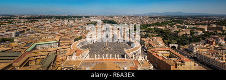 St. Peter's Square & view of Rome panorama - Stock Photo