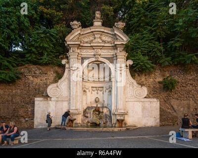 Fontana del Prigione, Fountain of Prison, Trastevere, Rome, Italy - Stock Photo
