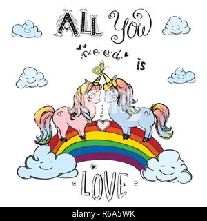 Couple of unicorns standing on rainbow with inscription - all you need is love,hand drawn vector illustration - Stock Photo