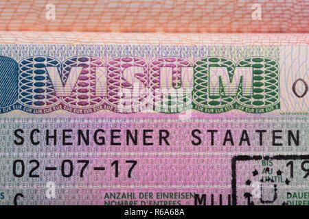 Visum Text On Passport - Stock Photo
