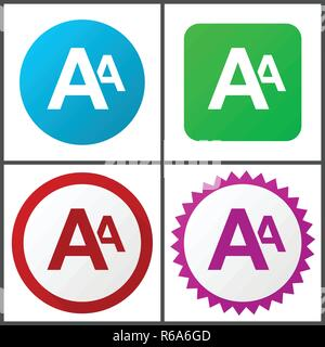 Alphabet red, blue, green and pink vector icon set. Web icons. Flat design signs and symbols easy to edit - Stock Photo
