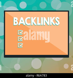 Text sign showing Backlinks. Conceptual photo incoming hyperlink from one web page to another big website Rectangular Shape Form in half diagonal spli - Stock Photo