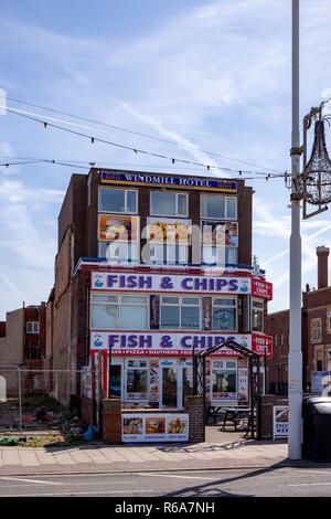 Traditional fish and chips shop in Blackpool Lancashire UK - Stock Photo