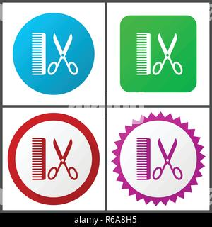 Barber red, blue, green and pink vector icon set. Web icons. Flat design signs and symbols easy to edit - Stock Photo