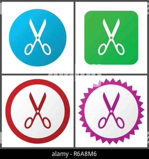 Scissors red, blue, green and pink vector icon set. Web icons. Flat design signs and symbols easy to edit - Stock Photo