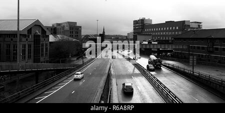 The motorway in the centre of the city of Newcastle upon Tyne - Stock Photo