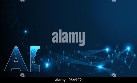 Artificial Intelligence AI Futuristic Concept. Human Big data Visualization with Cyber Mind. Machine Deep Learning. Plexus Abstract Network Connections Background. - Stock Photo